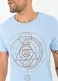 People By Fabrika Baskılı Tişört Mavi